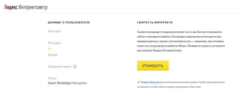 Интернетометр Яндекс