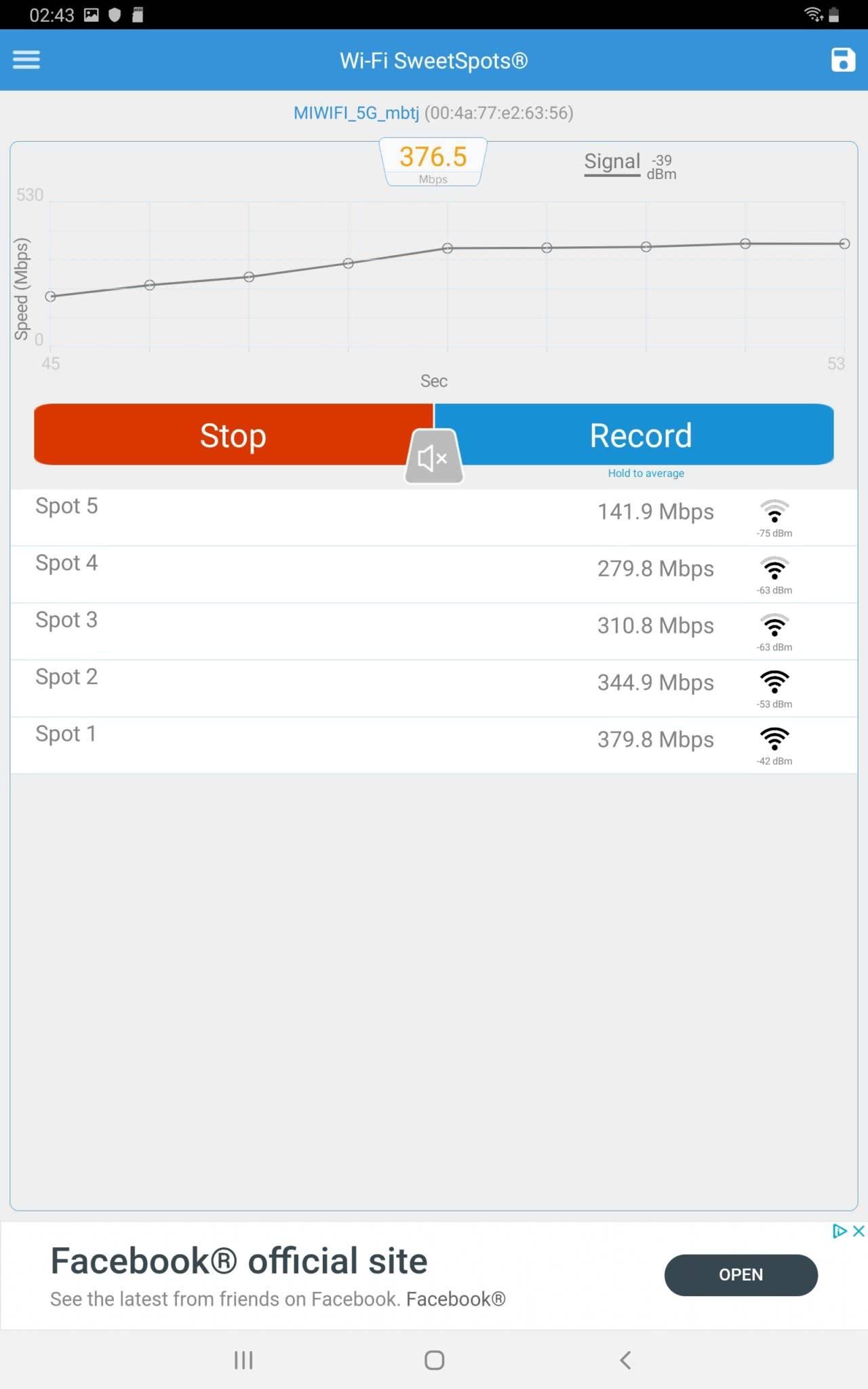 WiFi тест Samsung Galaxy Tab S5e 10.5