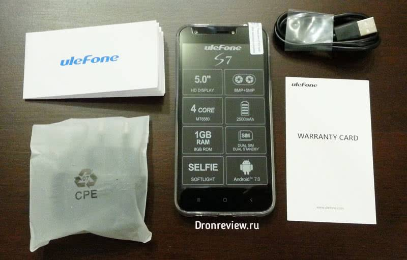 Комплектация Ulefone S7
